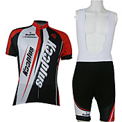 Kooplus-Men's BIB Short Sleeve Cycling Suits (Red and White)