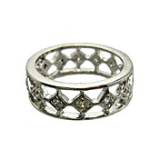 Nice Cubic Zirconia Platinum Plated Round Shape Fashion Ring