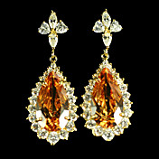 Top Beautiful Champagne Cubic Zirconia Earrings