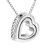 Austrian Crystal With Real Platinum Plated  Anti-Allergy Ladies Necklace Forever Love