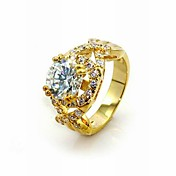 18K Gold Platted & Lux Top Classic Cubic ZirconiaFashion Ring (More Colors)