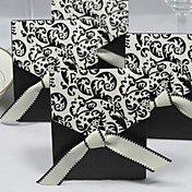 Ivory And Black Flourish Favor Box With Ribbon (Set of 12)