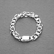Gorgeous Silver Plated 10MM Square Clasp Unisex Bracelet