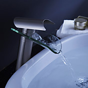 Contemporary Waterfall Bathroom Sink Faucet - Nickel Brushed Finish