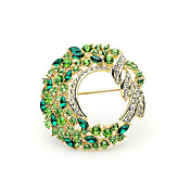 Gorgeous Alloy With Green Rhinestones Brooch