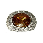 18K Gold Plated & Big AAA Level Oval Cubic Zirconia Ladie's Fashion Ring