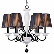 Elegant Metal Chandeliers with 6 Lights with White Ceramic Pillar