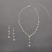 Shining Czech Rhinestones Alloy Plated Wedding Jewelry Set,Including Necklace And Earrings