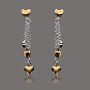 Gorgeous Silver Plate Gold Heart Stud Earring