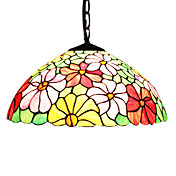 2 - Light Tiffany Pendent Lights with Chrysanthemum Pattern
