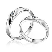 Elegant Sterling Silver Cubic Zirconia Couple's Rings