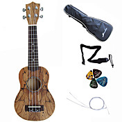 Hanknn - Maple Soprano Ukulele with Gig Bag/String/Picks/Strap
