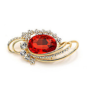 Gorgeous Alloy With Red Crystal Brooch