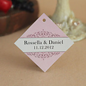 Personalized Rhombus Favor Tag - Pink Classic Theme (Set of 30)