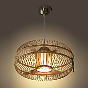 60W Modern Pendant Light with 1 Light in Bamboo Shade