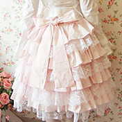 Knee-length Pink Terylene Lace Lined Sweet Lolita Skirt