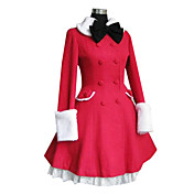 Long Sleeve Red Velvet White Lace Double-breasted Sweet Lolita Coat