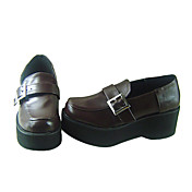 Brown PU Leather 6cm Wedge Classic Lolita Shoes with Hasp