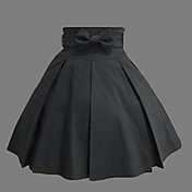 Knelang Black Cotton Western Style Classic Lolita skjrt