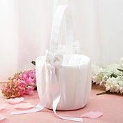 Flower Basket In White Satin With Lily Ribbons