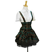 Short Dark Green Check Pattern Terylene Sweet Lolita Suspender Skirt