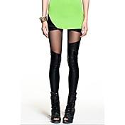 Imitation Leather Mesh Spliced Leggings