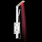 Contemporary Wall Mount LED Color Changing Centerset Aluminum Shower Panel with Hand Shower