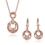 18K Gold Jewelry Set With Rhinestone Including Earring,Necklace