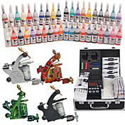 4 Tatoo Guns Kit med LCD Power og 40 Color Ink