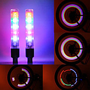 2PCS 5 LED 8 Modes Tyre Wheel American Valve Cap Light for bil Bike sykkel Motorbicycle Wheel Lys Tire Lys