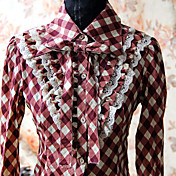 Long Sleeve Red Cotton  Check Pattern School Lolita Blouse