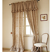 (Two Panels) Traditional Elegant Floral Linen Lined Curtains With Valance