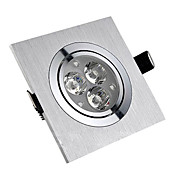3W LED Ceiling Light with 3 LEDs in Square Feature