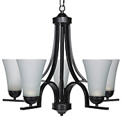60W E27 5-light Minimalist Iron Chandelier with Glass Shades