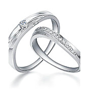 Charming 925 Sterling Silver with Crystal Couple's Rings