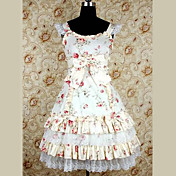 Senza maniche al ginocchio cinghie Flower Pattern Cotton Dress Lolita Paese