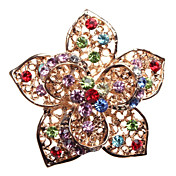3D Hollow Five Petals Flower Crystal Inlaid Alloy Brooch