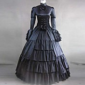 Langermet Floor lengde Svart Satin og Cotton Aristocrat Gothic Lolita Dress