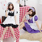 Cute Girl Black&amp;Pink&amp;Green&amp;Purple Polyester Maid Suit with Lace (4 Colors)(3 Pieces)