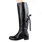 Leather Low Heel Knee High Boots With Zipper / Lace-up Party / Evening Shoes