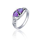 925 Sterling Silver Natural Amethyst Ring(1.4carat)(6*6mm)