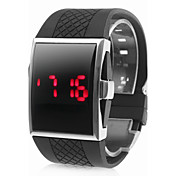 Square Silver Dial Black Silicone Band LED Wrist Watch
