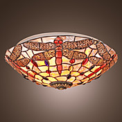 Tiffany Style Flush Mount with 3 Lights - Dragonfly Patterned