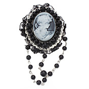 Exquisite Vintage Relievo Head Portrait Black Pearl Brooch