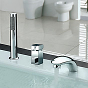 Contemporary Widespread Chrome Finish Two Handles Tub Faucet With Handshower