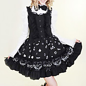 Long Sleeve Knee-length Black and White Cotton Princess Lolita Dress
