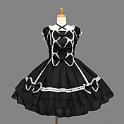 Sleeveless Knee-length Black Cotton Aristocrat Lolita Dress