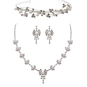 Alliage belle avec strass / imitation Set Perles Bijoux femmes, y compris le collier, boucles d'oreilles, Tiara