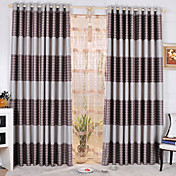 (Two Panels) Geometic Grey Print Blackout Curtains