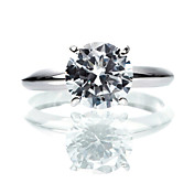 Charming 925 Sterling Silver Platinum Plated Cubic Zirconia Ring